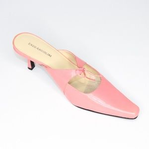 Enzo Angiolini Pink Coral Leather Mules Heels
